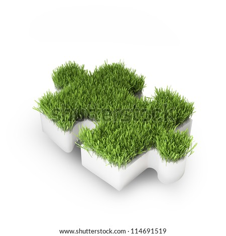 Grass covered puzzle piece - ecology development concept - stock photo