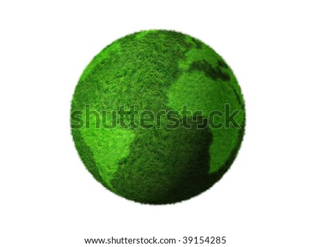 grass earth globe isolated on white - three dimensional illustration