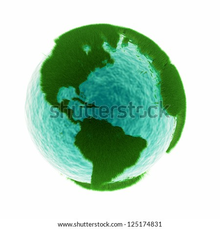 grass earth with water - global warming