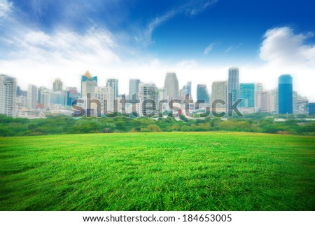 Grass field under blue sky and city background - stock photo