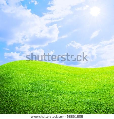 Grass fields and sun sky - stock photo