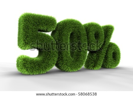 Grass fifty percent, isolated on white background. 50% - stock photo