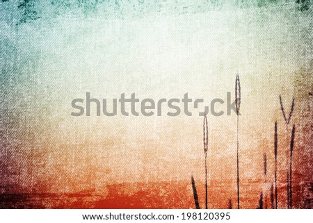 Grass flower in Vintage and pastel style for canvas background - stock photo