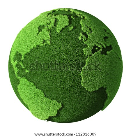 Grass Globe isolated on white background. 3d render