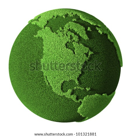 Grass Globe - North America, isolated on white background. 3d render - stock photo