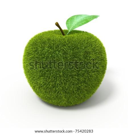 Grass green apple - stock photo