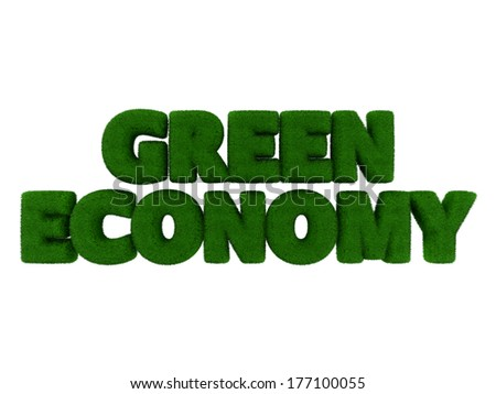 Grass Green Economy word isolated on white background - stock photo