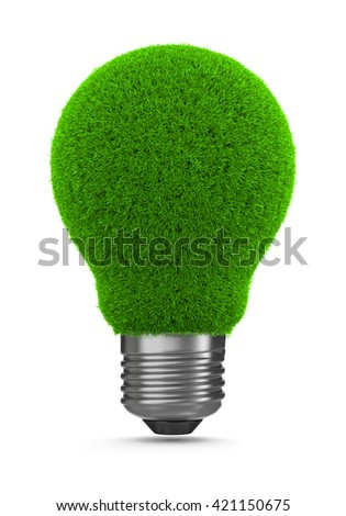 Grass Green Light Bulb on White Background 3D Illustration, Green Energy Concept
