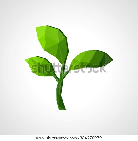grass green sprout of a tree with leaves on a gray background isolation polygonal low poly.