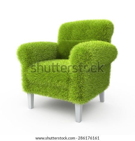 Grass grown on a chair  - stock photo