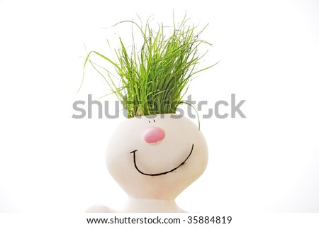 grass head - stock photo