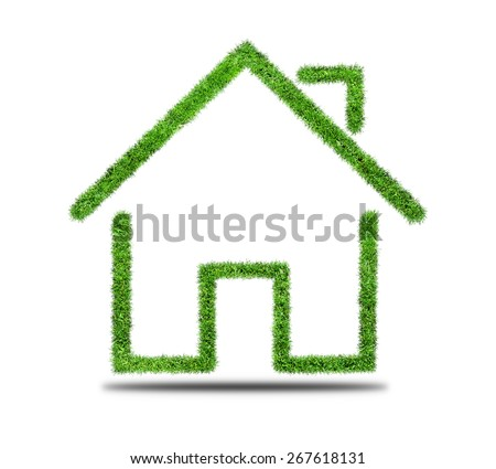 Grass home icon, isolated on white background.  - stock photo