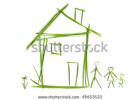 Grass House isolated on the white background - stock photo
