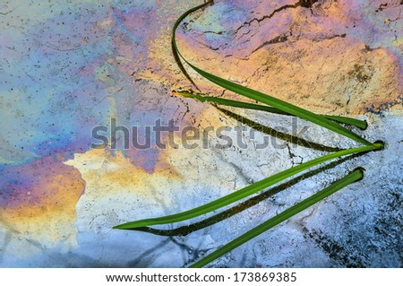 grass in a nearby chemical waste plant - stock photo