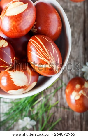 Grass in Easter Decor on Eggs. Natural Style.Boiled in Onions Peels - stock photo