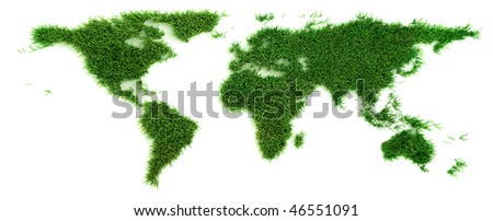 Grass in the shape of world map