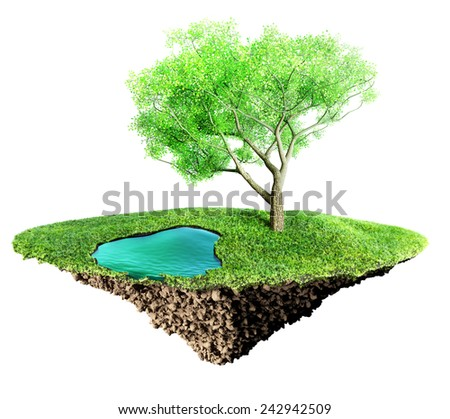 grass island and soil - stock photo