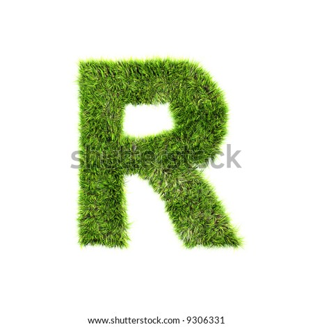 Grass letter - stock photo