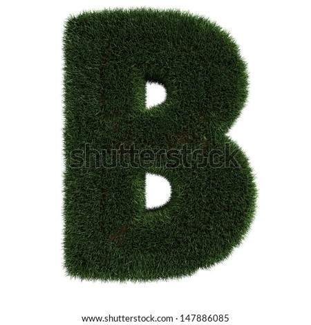 Grass Letter B isolated - stock photo