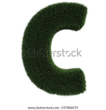 Grass Letter C isolated - stock photo