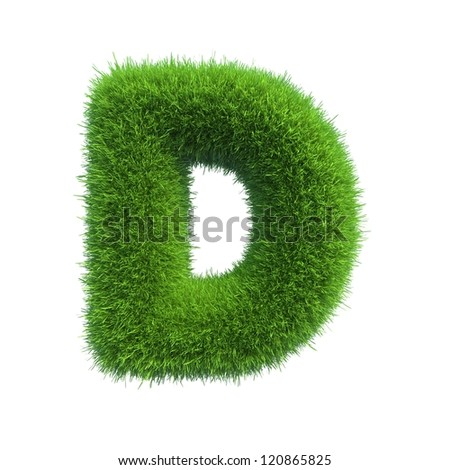 grass letter D isolated on white background - stock photo