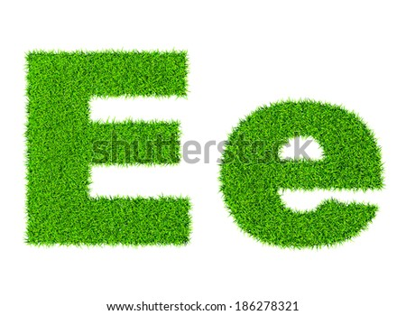 Grass letter E - ecology eco friendly concept character type