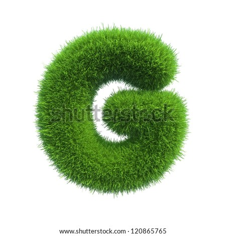 grass letter G isolated on white background - stock photo