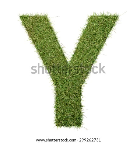 Grass letter growing on wood with metal frame - stock photo