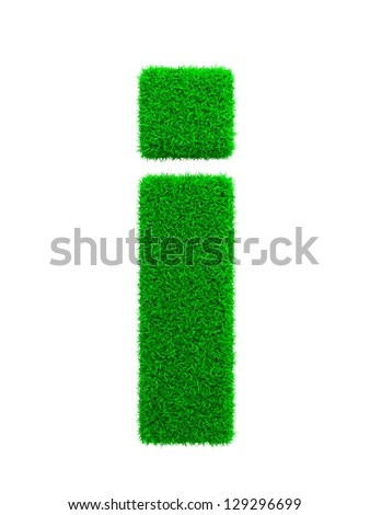 Grass Letter I Isolated on White Background.