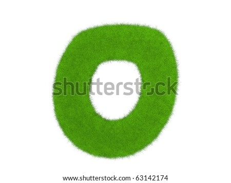 Grass letter isolated on the white background