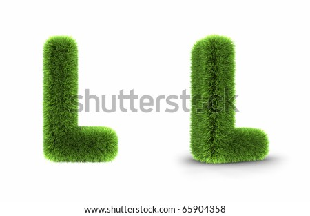 Grass letter l, isolated on white background