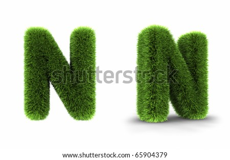Grass letter n, isolated on white background