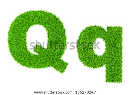 Grass letter Q - ecology eco friendly concept character type