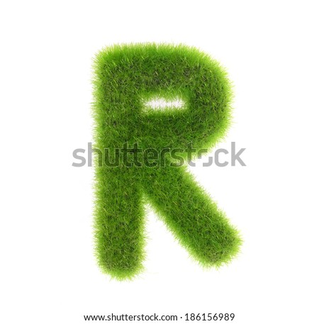 grass letter r isolated on white background