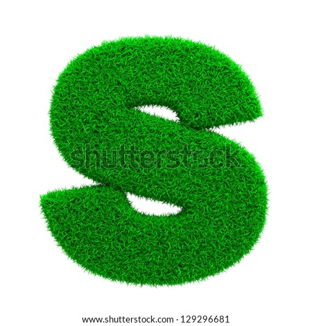 Grass Letter S Isolated on White Background. - stock photo