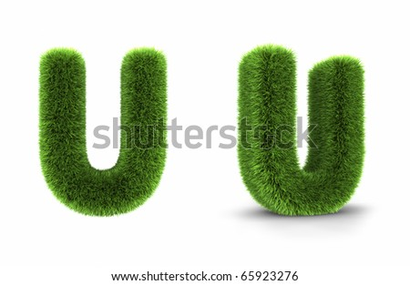 Grass letter u, isolated on white background