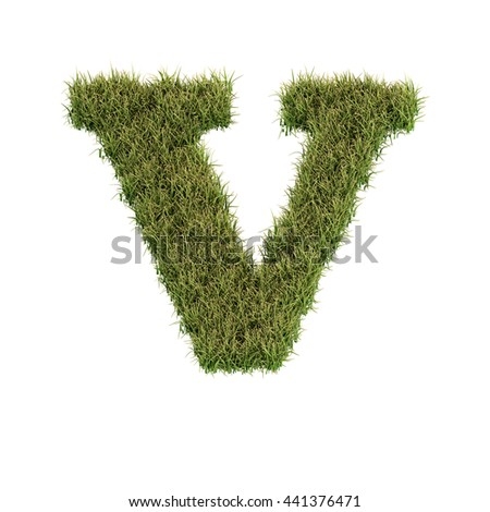 Grass letter V isolated on white background for education or ecological concept design. Ideal for nature, natural, organic, education, ecology, environment, health, spring or summer. 3D illustration.