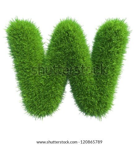 grass letter W isolated on white background - stock photo