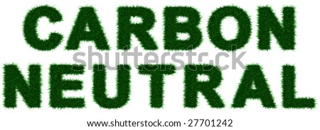 "Grass letters forming ""Carbon Neutral"" , isolated on white. Incredibly detailed 3d rendering - stock photo"