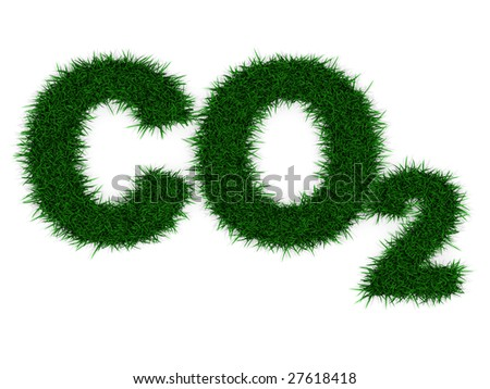 "Grass letters forming ""CO2"" , isolated on white. Incredibly detailed 3d rendering - stock photo"