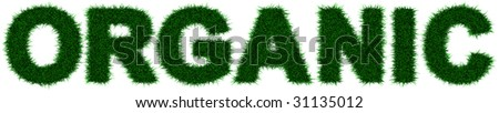 """Grass letters forming the word """"Organic"""" - stock photo"""