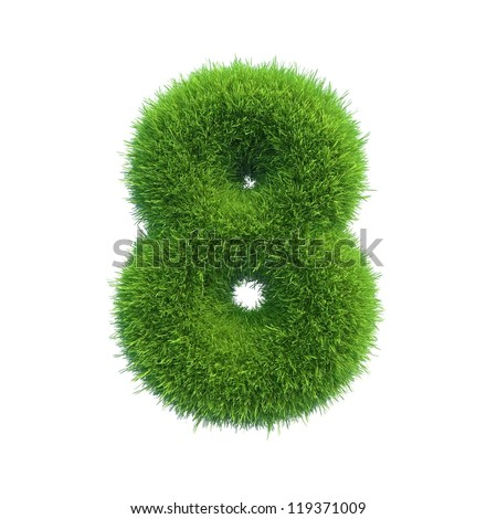 grass number 8 isolated on a white background