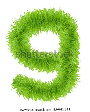 "Grass ""9"" number, isolated on white background"