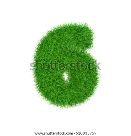 Grass number 6 isolated on white, 3d illustration