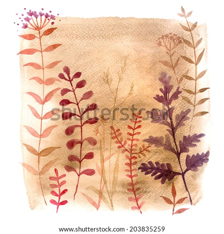 Grass on a watercolor background, watercolor background on white background, natural decorative motifs