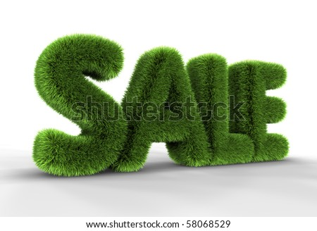 Grass sale word isolated on white background, 3D rendering - stock photo