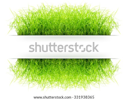 Grass signboard for add your text in natural concept isolated on white background