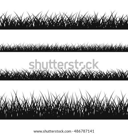 Grass silhouette seamless pattern. Nature lush landscape background Horizontal black contour isolated on white. Symbol of field lawn, park and meadow, fresh, summer. Design element illustration