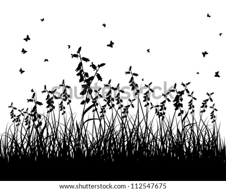 Grass silhouettes background. All objects are separated. - stock photo
