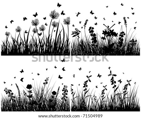Grass silhouettes background set.